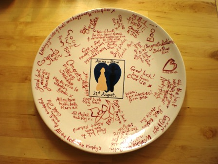 You then collect it and take it to the wedding where guests write messages for the bride and groom on the plate with one of our special ceramic pens. & Flying Saucers Hebden Bridge : Unique wedding gifts : wedding plate ...